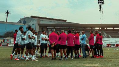 صورة موسيماني يحاضر اللاعبين قبل انطلاق المران
