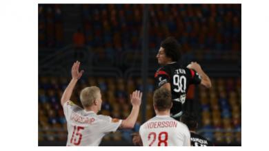 صورة علي زين رجل مباراة الدنمارك في كرة اليد رغم الهزيمة