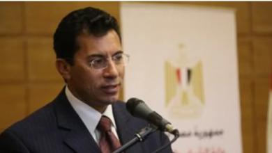 صورة وزير الرياضة يشهد مباراة مصر وروسيا ببطولة العالم لليد